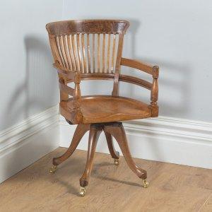 Antique English Victorian Oak & Burr Walnut Revolving Office Desk Arm Chair (Circa 1890)