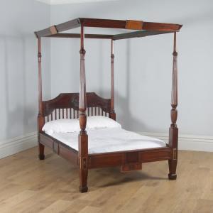 "Antique 4ft 6"" English Regency Mahogany Double Size Four Poster Bed (Circa 1820) - yolagray.com"