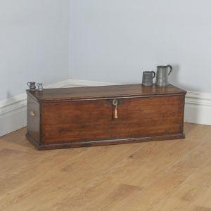 Antique English Georgian Oak Trunk Blanket Box Chest Ottoman (Circa 1780) - yolagray.com
