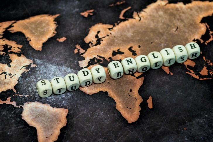 STUDY ENGLISH on grunge world map