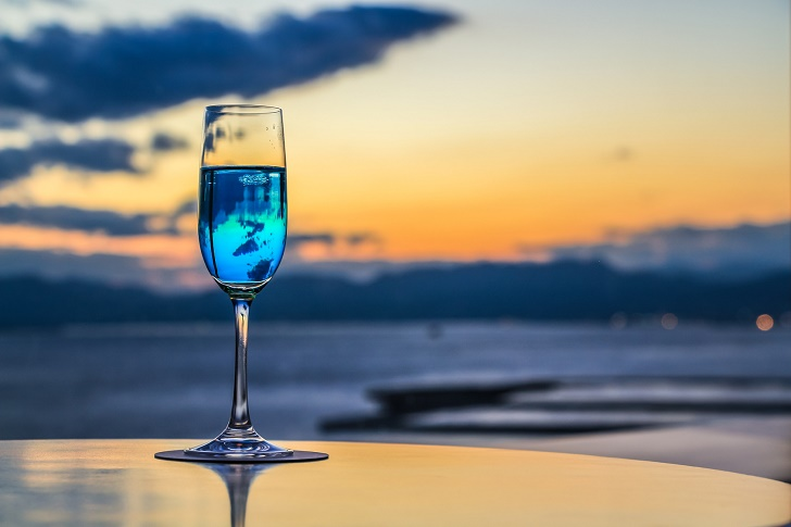 Cocktail with sunset view