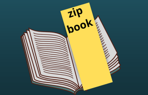 "image of a note with ""Zip Book"" written on it inside a library book"