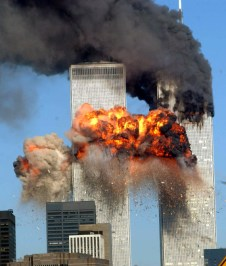 NEW YORK - SEPTEMBER 11, 2001: (FILE PHOTO) A fiery blasts rocks the south tower of the World Trade Center as the hijacked United Airlines Flight 175 from Boston crashes into the building September 11, 2001 in New York City. Almost two years after the September 11 attack on the World Trade Center, the New York Port Authority is releasing transcripts on August 28, 2003 of emergency calls made from inside the twin towers. (Photo by Spencer Platt/Getty Images)