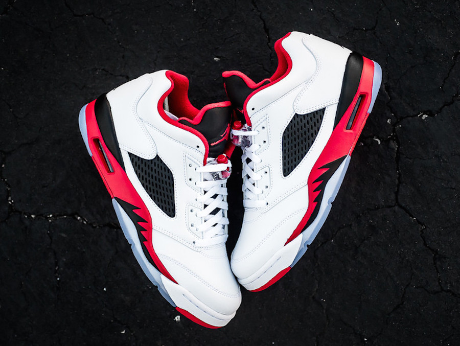 """4fd4dc86739 The Air Jordan 5 Low """"Fire Red"""" features a White leather base upper with Fire  Red accents on the inner interior, Jumpman logo on the tongue and back  heel, ..."""