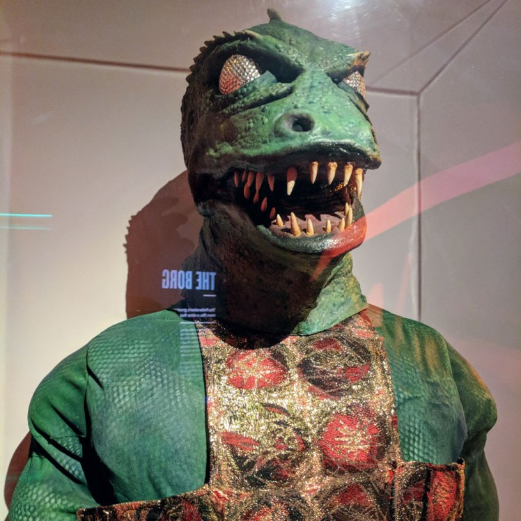"""The Gorn"" costume from a 1967 Star Trek episode in a temporary exhibition at MoPOP"