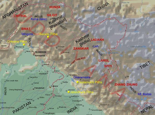 Localisation approximative d'Uddiyana et de ses voisins © Yoniversum.nl