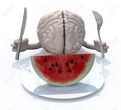 human brain with hands, fork and knife in front of a watermelon slice on dish, 3d illustration