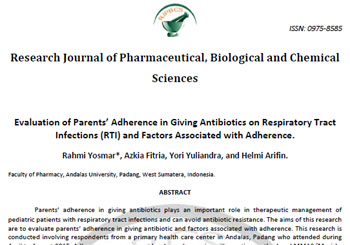 Evaluation of Parents' Adherence in Giving Antibiotics on Respiratory Tract Infections (RTI) and Factors Associated with Adherence