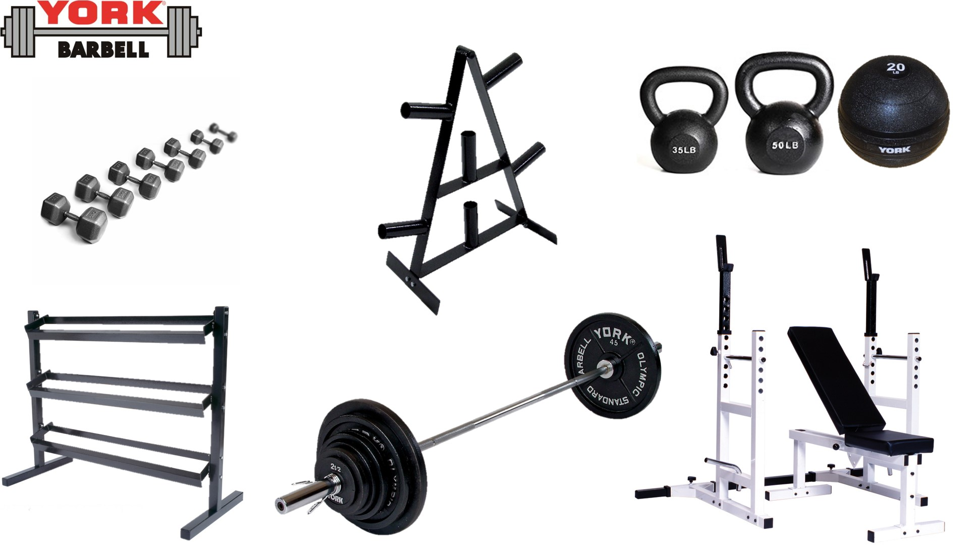 York Silver Package Gym Equipment Sets York Barbell
