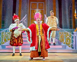 Jack Lansbury, Martin Barrass & Howie Michaels in Sleeping Beauty at York Theatre Royal. Photo Robling Photography