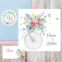{Summer Time}: Invitatii nunta de vara cu bicicleta, flori acuarela si sticker personalizat