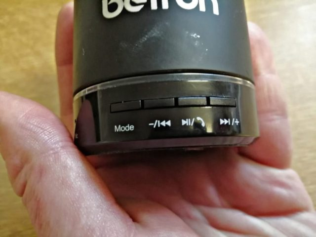 The butto s of the Betron Kbs08 Bluetooth Speaker.