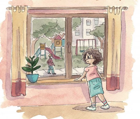 Belinda looks out the window, she cannot see her grandparents or her friends. taken from the story What's Going On?