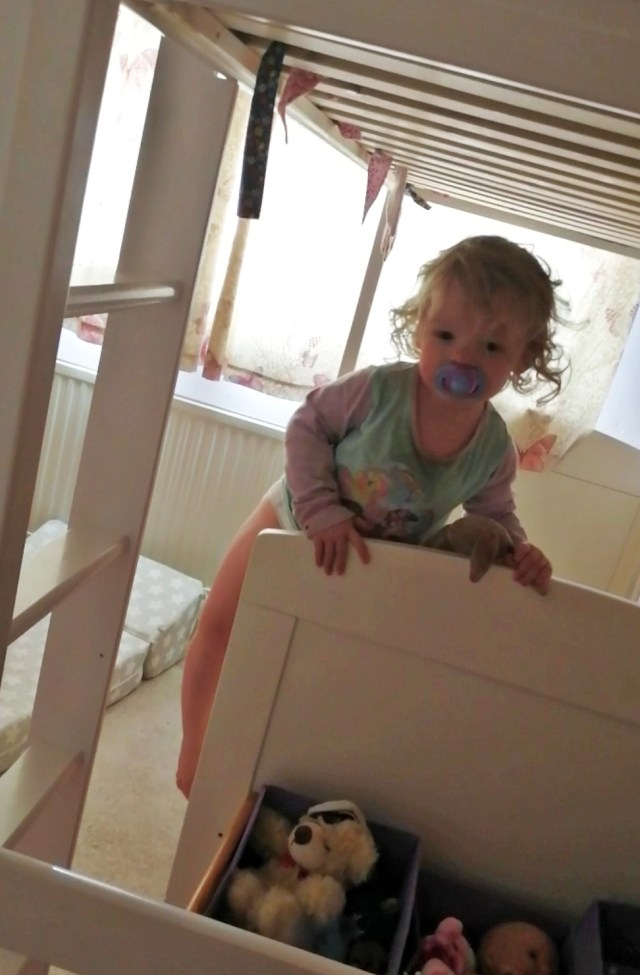 The reason for moving Toddler from Cot to Toddler Bed is that beast has started climbing out of her cot.