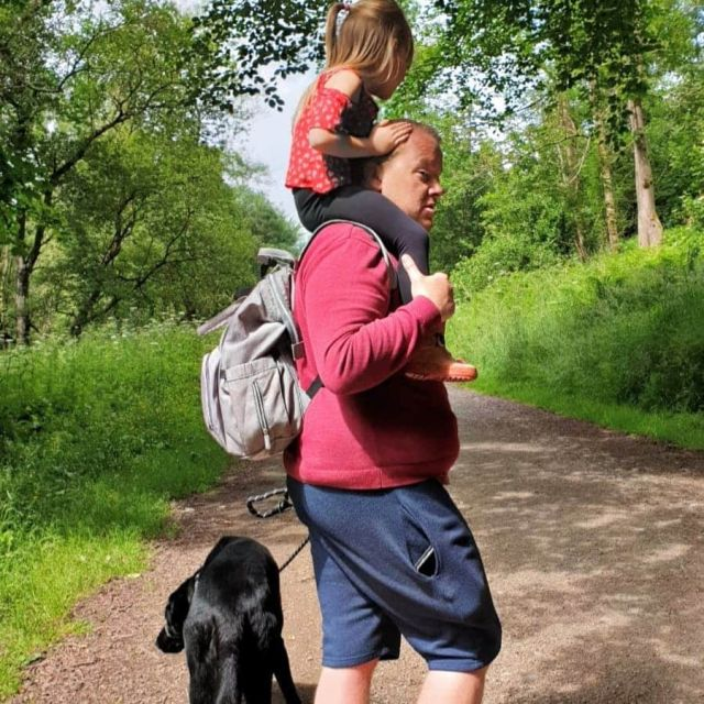 Shoulder ride for my daughter while walking the dog