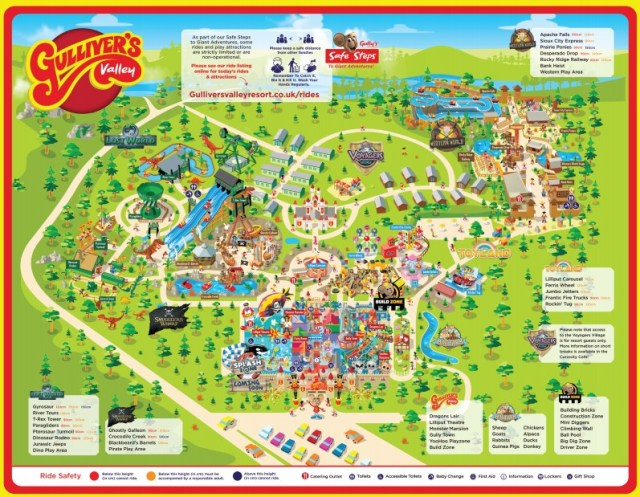 A map of Gulliver's Valley so you can see what is on offer at this family attraction and help you plan your visit to this yorkshire based theme park.