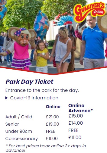 Snippet of Pricing for this family attraction taken from the Gulliver's Valley theme park Website.
