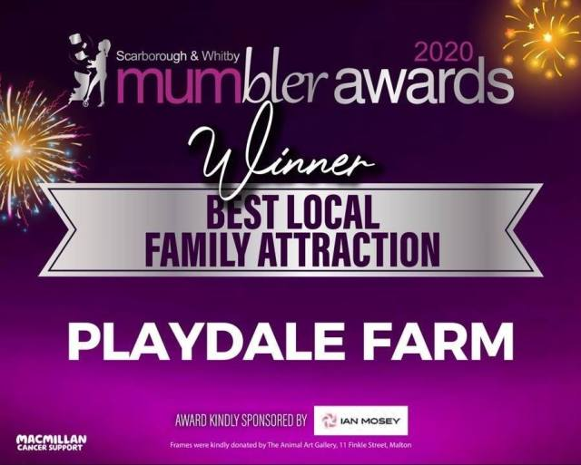 Playdale Farm Park won a local award from the Scarborough & Whitby mumbler for best local family attraction.