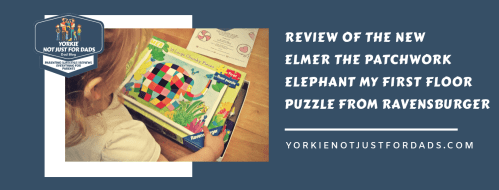 This image was created ffor the purpose of a featured image for the Post review for the elmer the patchwork elephant my first floor puzzle.