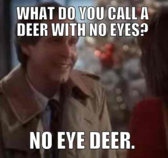 Utterly classic Dad joke in this Parenting Dad meme. An image of The national lampoons Christmas with the Classic Dad Joke -   What do you call a Deer with no eyes?  No-eyed-deer... no idea.