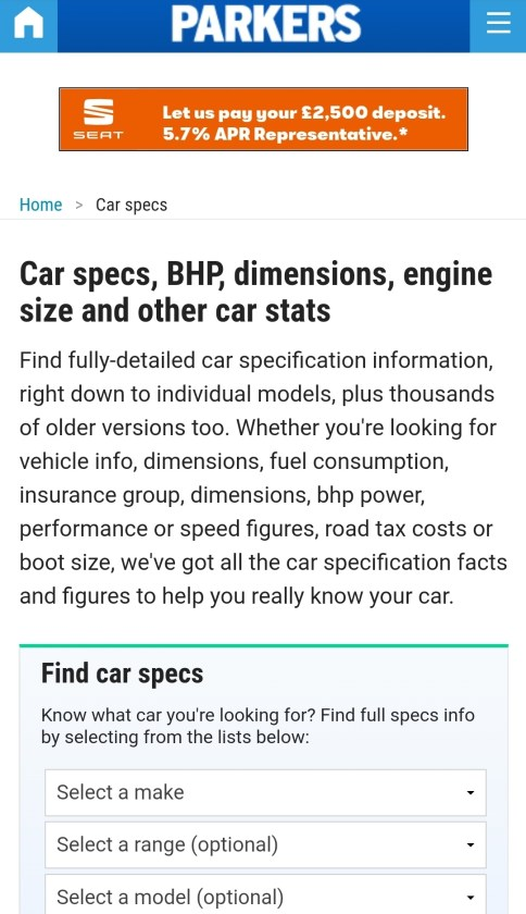 Parkers Car Specs. This screen grab shows this feature on the Parkers Website and is one I always use for research when I am looking to purchase a 7-seat family car.