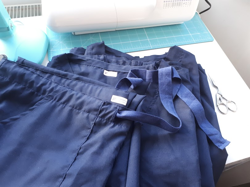 three sets of finished trousers