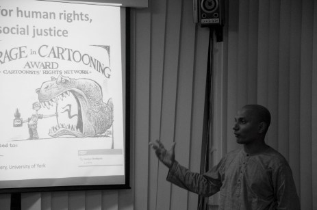 Ruki Fernando presents on the situation in Sri Lanka and Cartoons as a political tool of protest