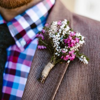 Heather Buttonhole. Photo: Georgina Brewster Photography