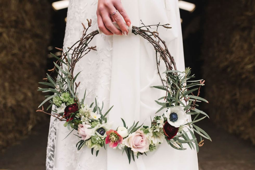 Twig hoop bouquet. Photo: Georgina Brewster Photography Styling: Suzanne Oddy Design Ltd