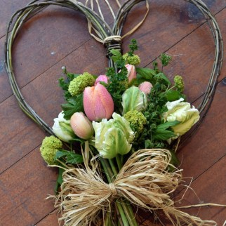 Photo: Paula Solloway Photography. Willow heart with homegrown posy