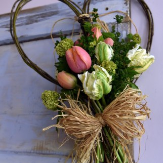 Willow heart with homegrown posy