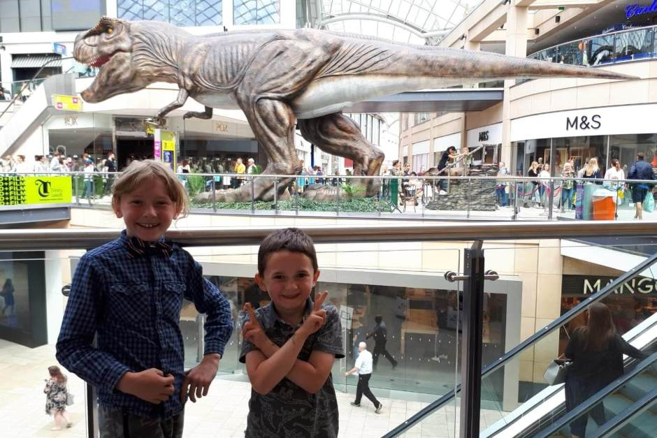 Two boys on the Leeds Dinosaur trail
