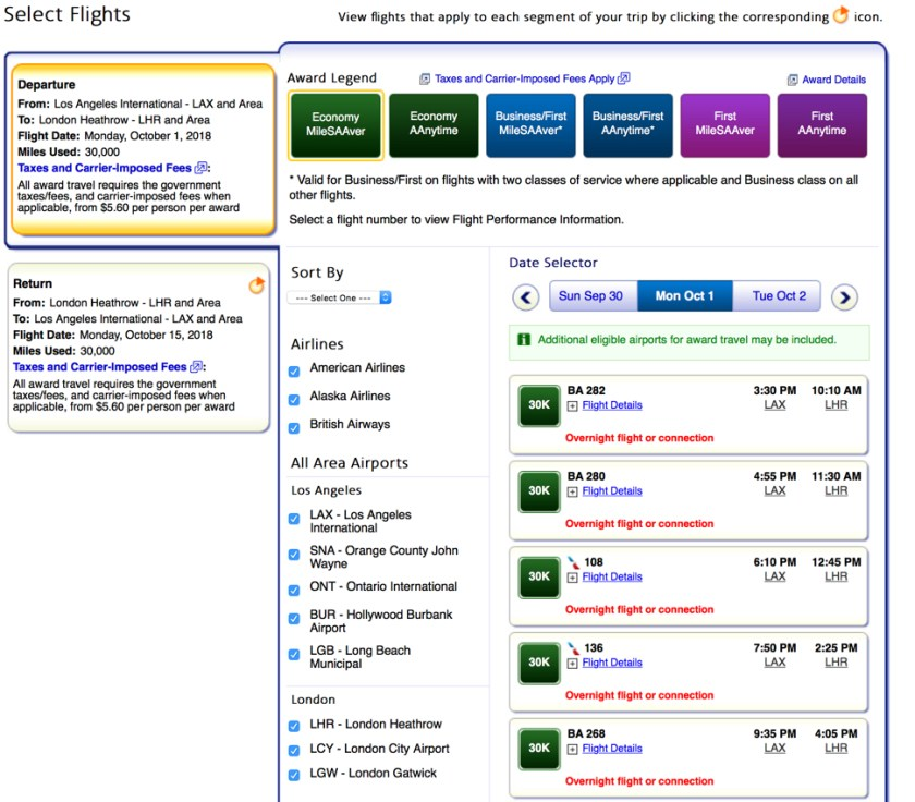 AA Select Flights