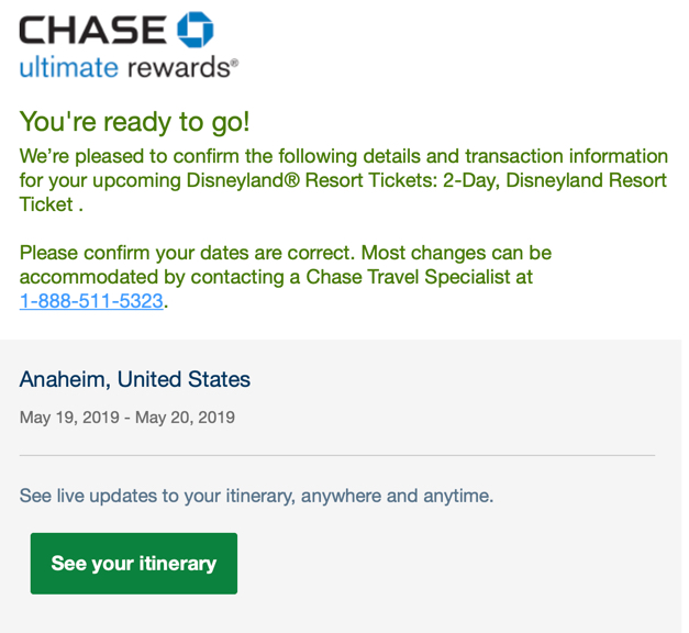 Chase Ultimate Rewards Confirmation