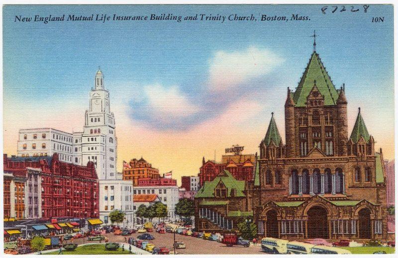 47_New_England_Mutual_Life_Insurance_Building_and_Trinity_Church_Boston,_Mass_87228