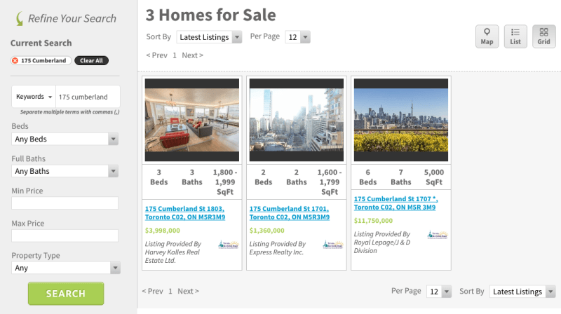 175 CUMBERLAND CONDOS FOR SALE - SAVED SEARCH