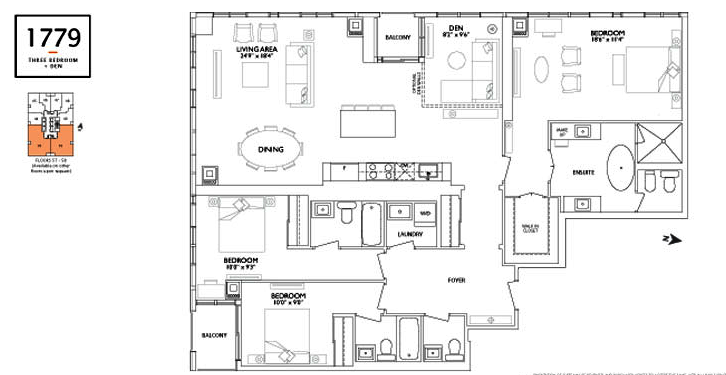 ONE YORKVILLE - FLOORPLANS THREE BEDROOM 1779 SQ FT