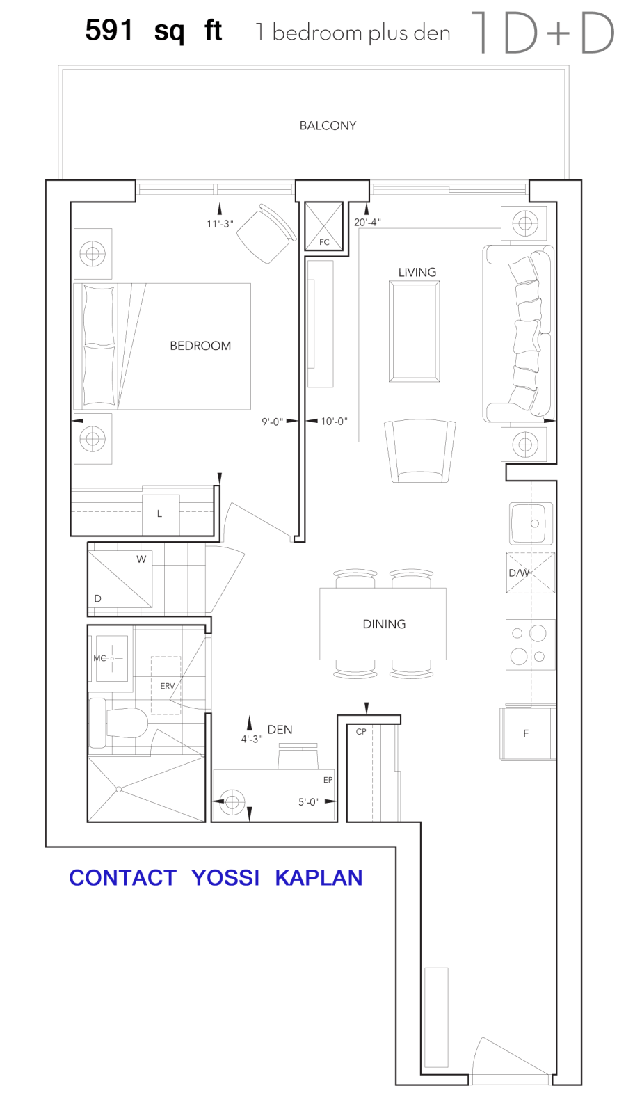 101 ERSKINE CONDOS - FLOORPLAN ONE BEDROOM - CONTACT YOSSI KAPLAN