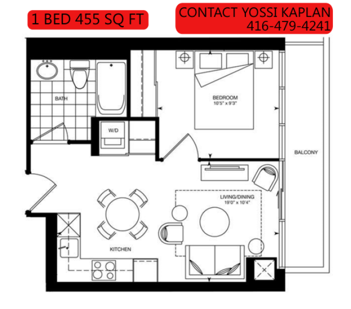 387 BLOOR ST EAST - FLOORPLAN 1 BED 455 SQ FT - CONTACT YOSSI KAPLAN