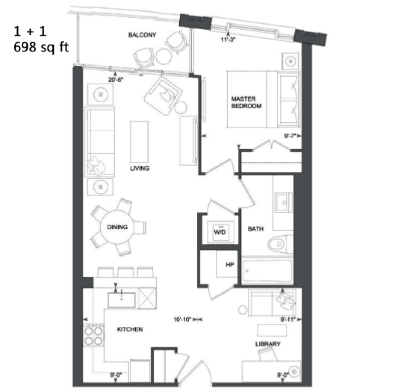 181 DAVENPORT - FLOORPLANS ONE PLUS DEN 698 SQ FT - CONTACT YOSSI KAPLAN