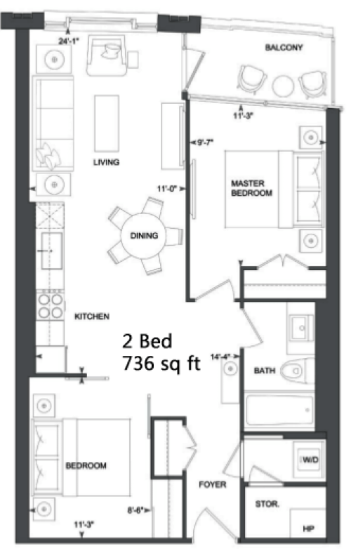 181 DAVENPORT - FLOORPLANS TWO BED 736 SQ FT - CONTACT YOSSI KAPLAN
