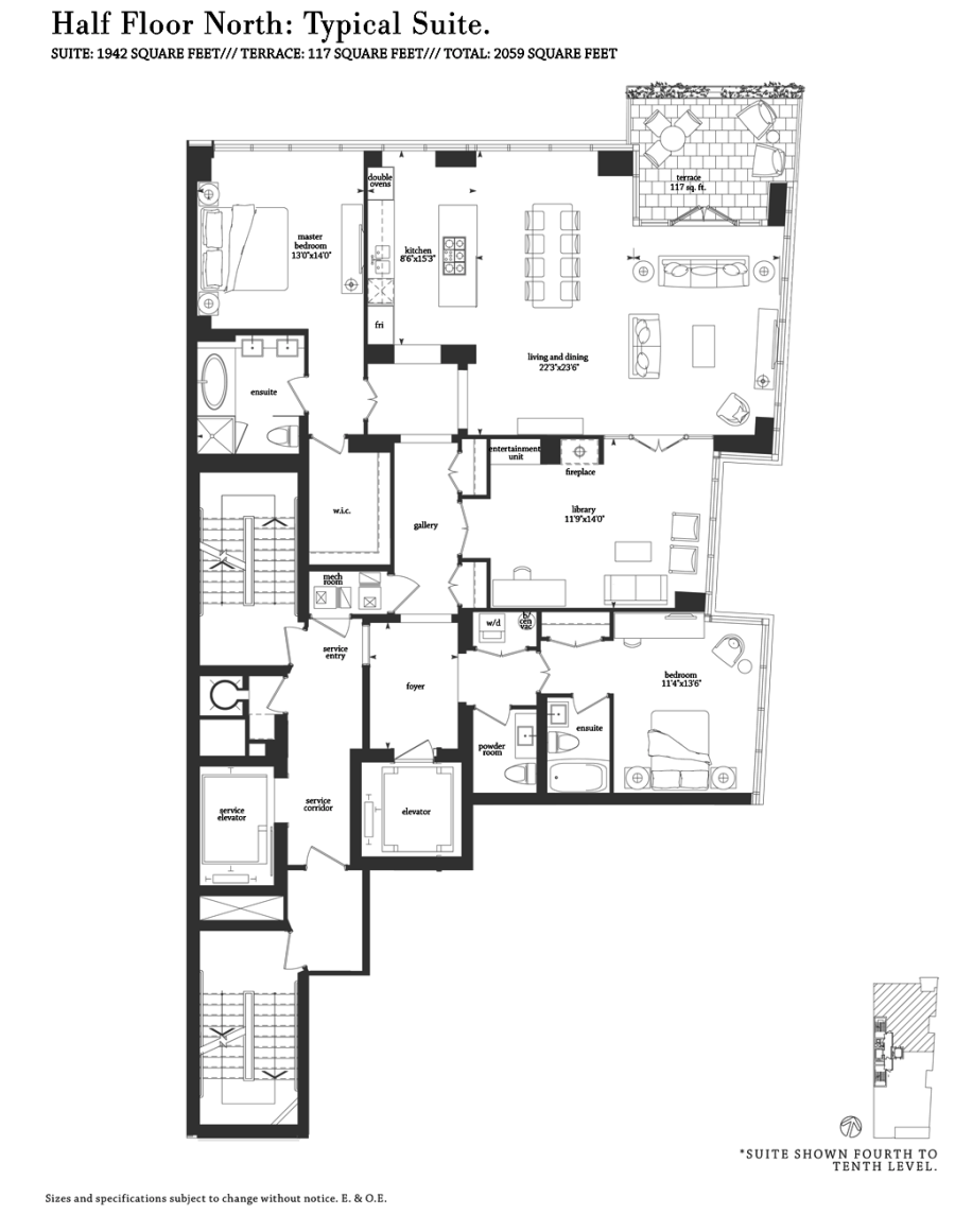 206 BLOOR WEST - FLOORPLANS THREE BED 1942 SQ FT - CONTACT YOSSI KAPLAN