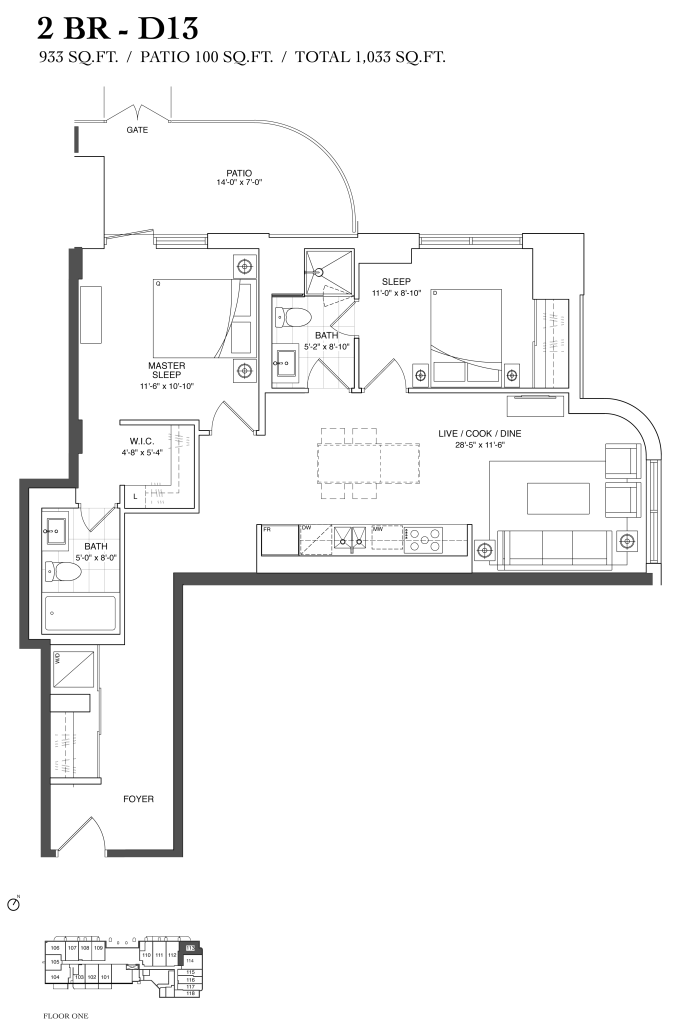 377 MADISON - FLOORPLAN TWO BED 933 SQ FT - CONTACT YOSSI KAPLAN