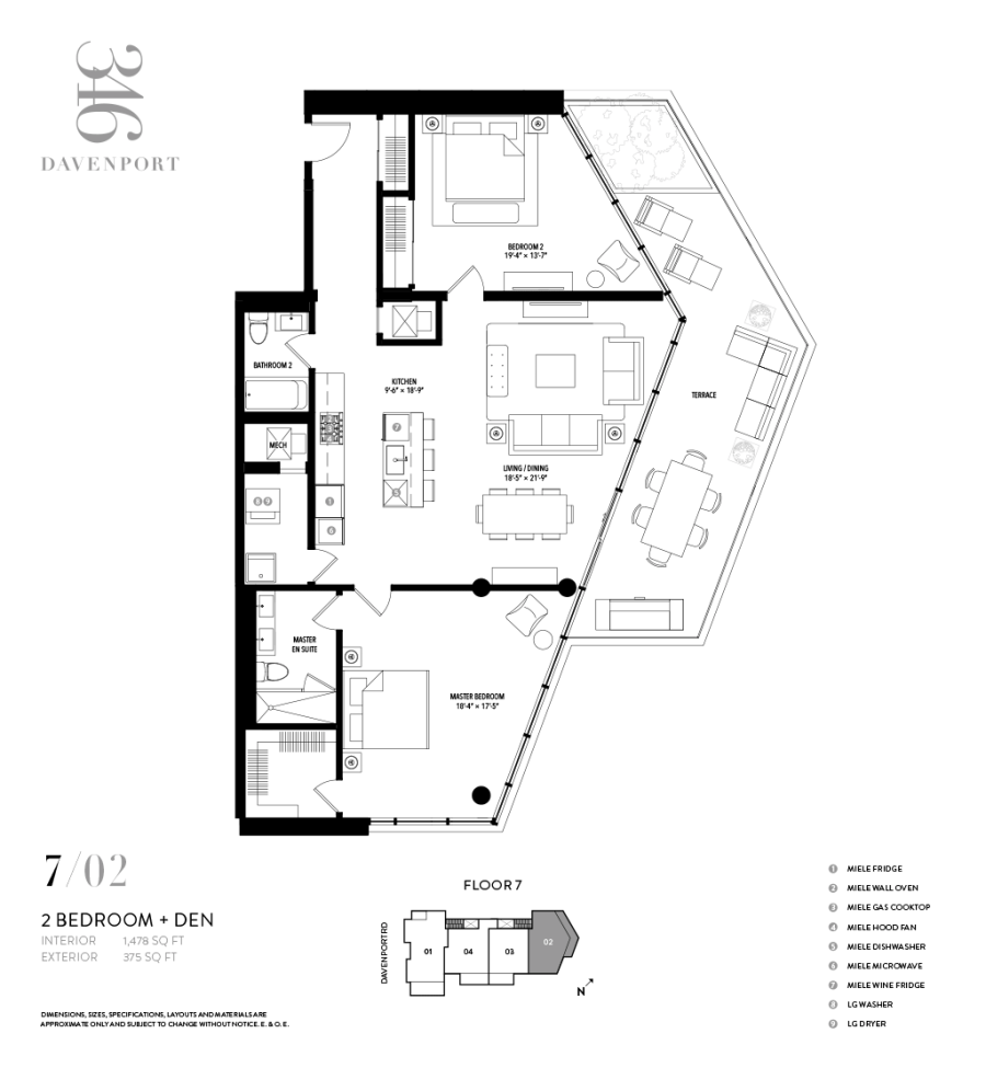 346 DAVENPORT - FLOORPLAN TWO BEDROOM 1478 SQ FT