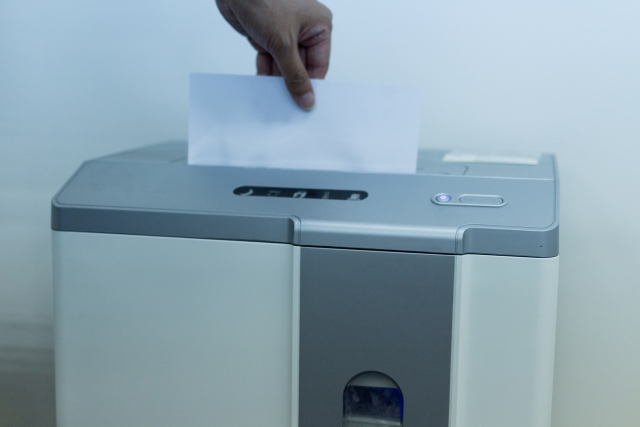 シュレッダーに紙をいれるところ