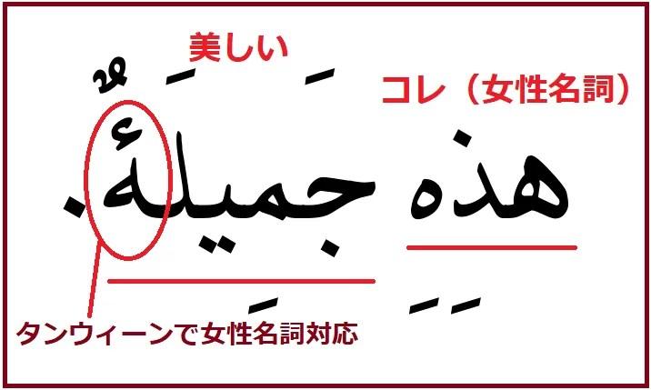 アラビア語「これは美しいです」の女性名詞対応版