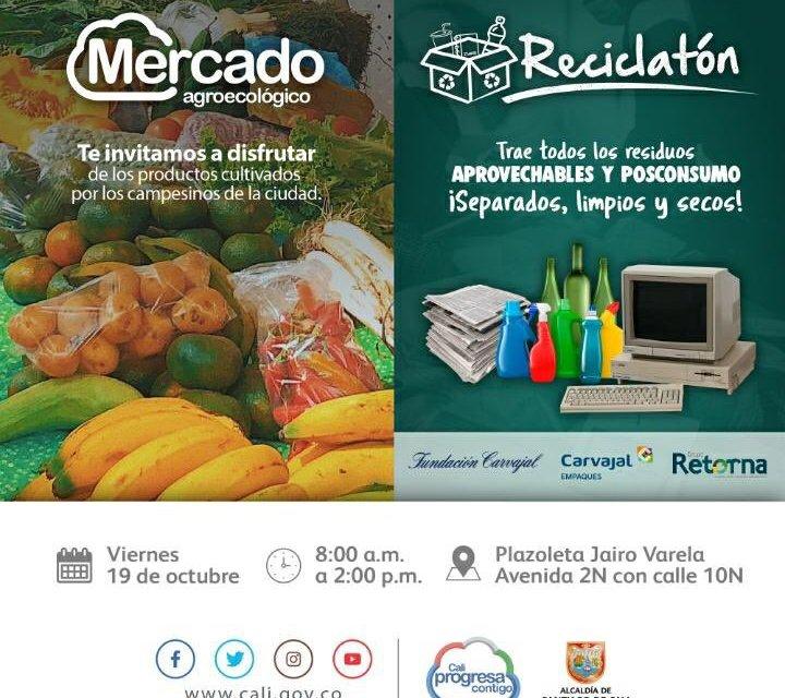 Reciclatón y Mercado Agroecológico en la plazoleta Jairo Varela