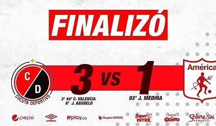 Cúcuta Deportivo venció 3-1 al América y se metio en los ocho clasificados