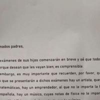 La carta viral del director de un colegio sobre el resultado de los exámenes
