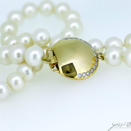 Gracefulness Pearl & Diamond Gold Necklace 6